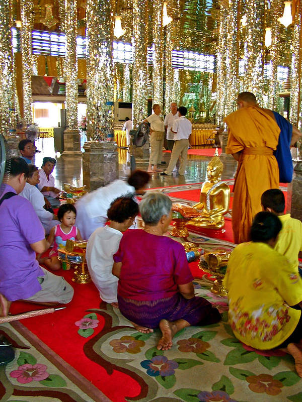 Families Awaiting Teaching From A Monk At Wat Tha Sung Temple In Uthaithani Poster featuring the photograph Families Awaiting Teaching From A Monk At Wat Tha Sung Temple In Uthaithani-thailand by Ruth Hager