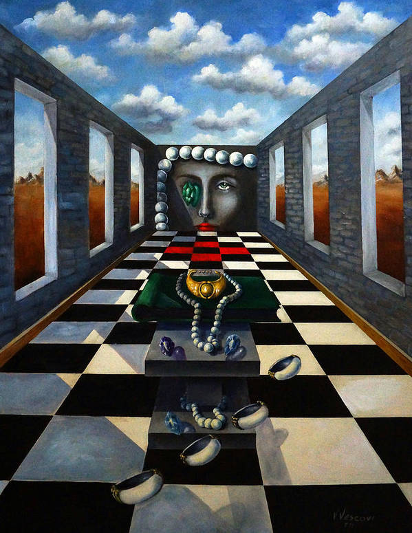 Surreal Landscape Poster featuring the painting Family Jewels by Valerie Vescovi