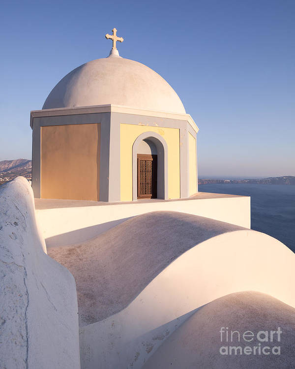 Architecture Poster featuring the photograph Famous Orthodox Church In Santorini Greece by Matteo Colombo