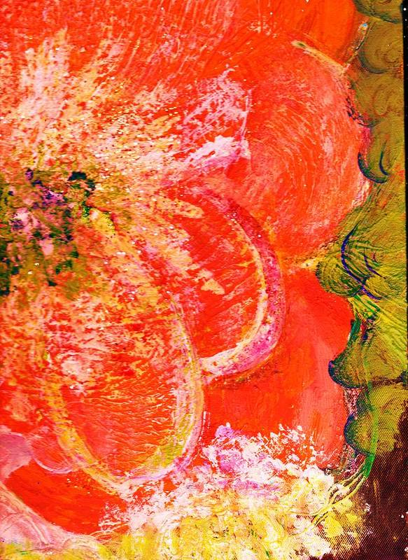Orange Poster featuring the painting Fantasia With Orange by Anne-Elizabeth Whiteway