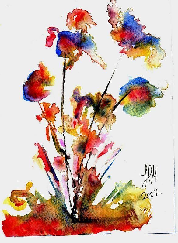 Winsor And Newton Painting On 300 G Paper . Poster featuring the painting Fantasy Flowers 2 by Henning Mogen