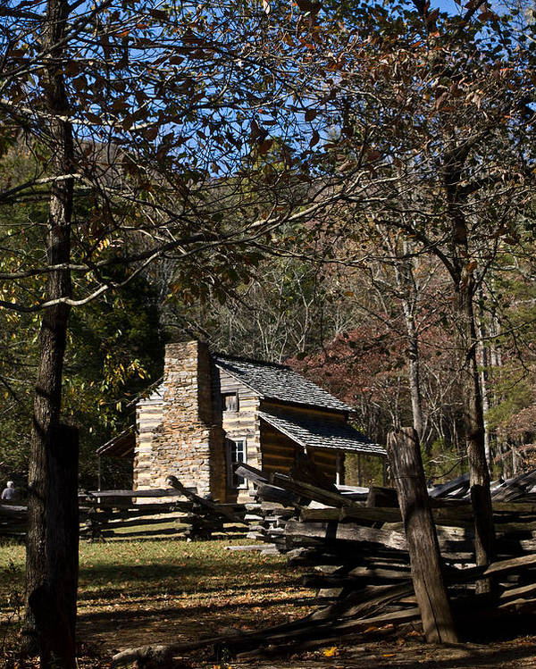 Farm Poster featuring the photograph Farm Cabin Cades Cove Tennessee by Douglas Barnett