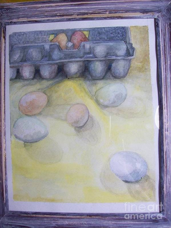 Water Color Poster featuring the painting Farm Fresh Eggs by Katie Thomas