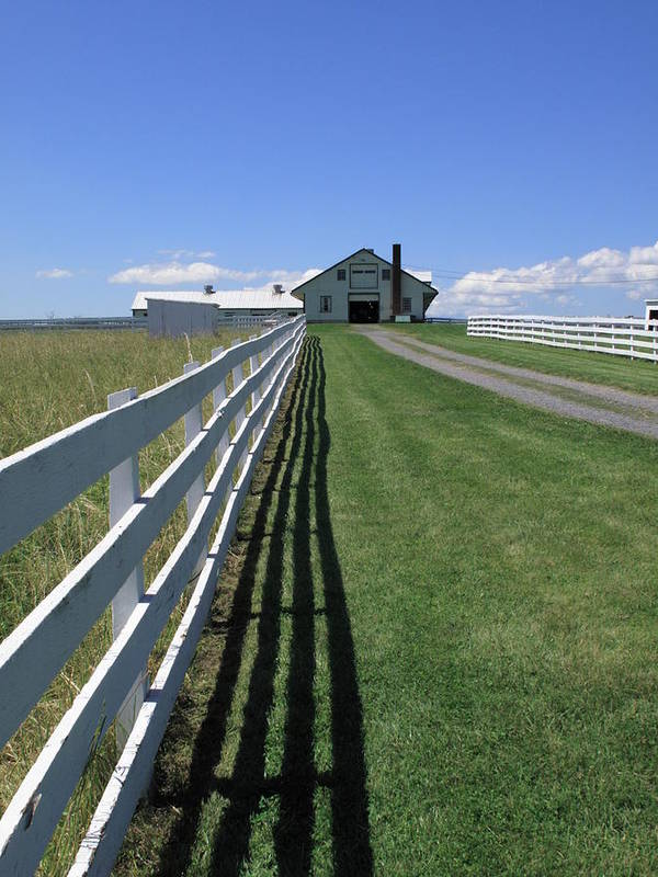 Agriculture Poster featuring the photograph Farmhouse And Fence by Frank Romeo