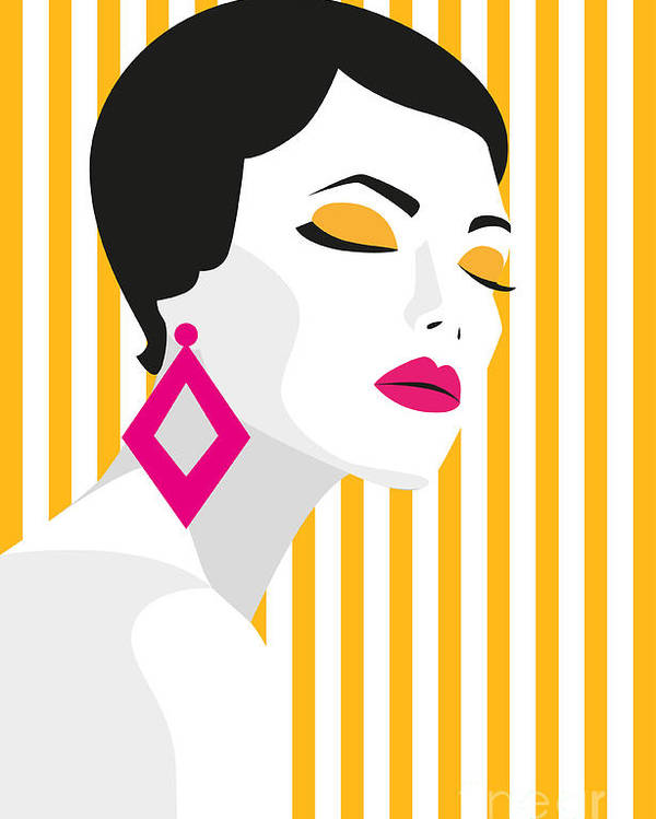 Makeup Poster featuring the digital art Fashion Girl. Bold, Minimal Style. Pop by Mary stocker