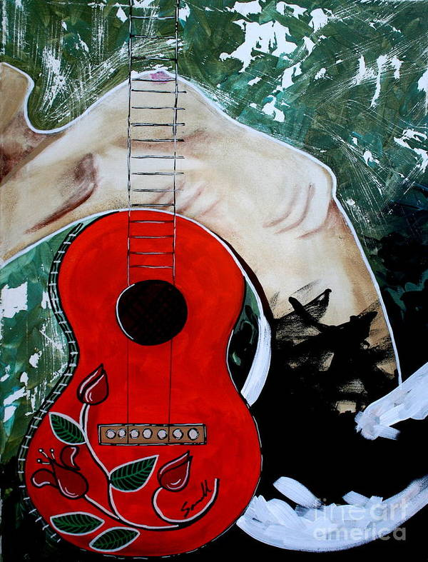 Guitar Poster featuring the painting Fat Bottom Girls You Make This Rocking World Go Round by Amy Sorrell