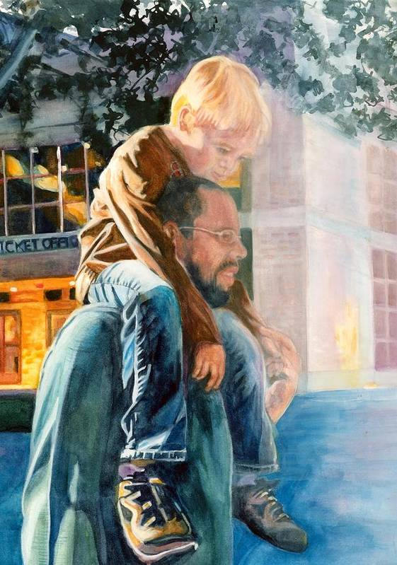 Watercolour Paintings Poster featuring the painting Father And Son In Morning Mist by Maureen Dean