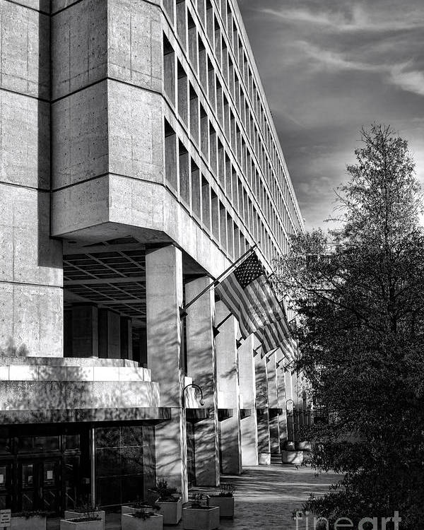Fbi Poster featuring the photograph Fbi Building Modern Fortress by Olivier Le Queinec
