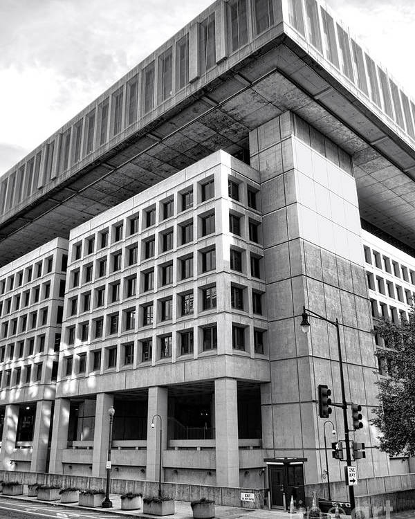 Fbi Poster featuring the photograph Fbi Building Rear View by Olivier Le Queinec