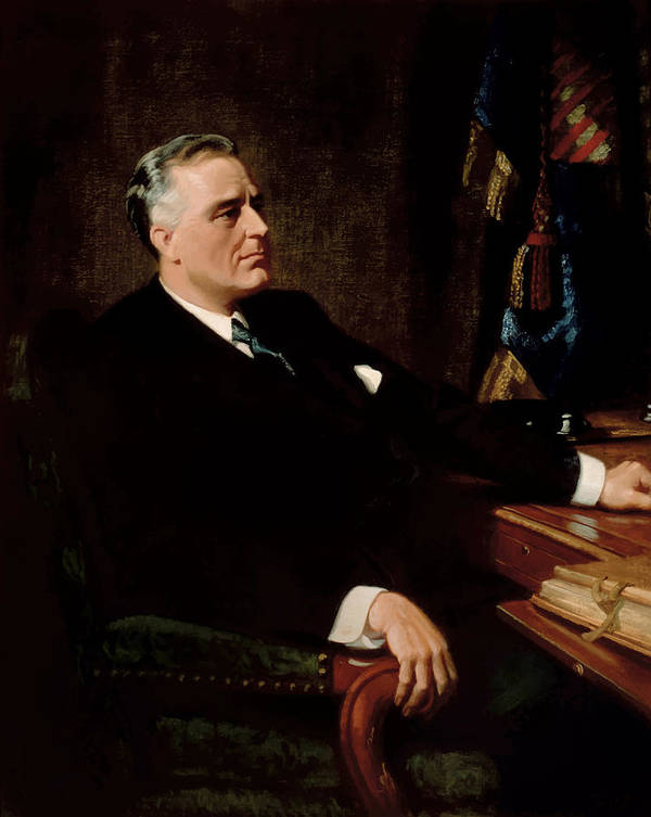 Franklin Roosevelt Poster featuring the painting Fdr Official Portrait by War Is Hell Store