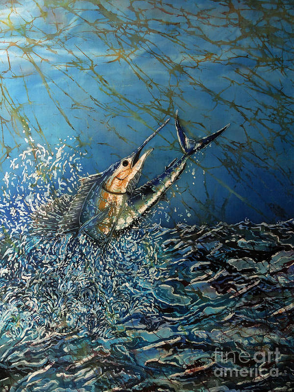 Sailfish Poster featuring the painting Fearless by Sue Duda