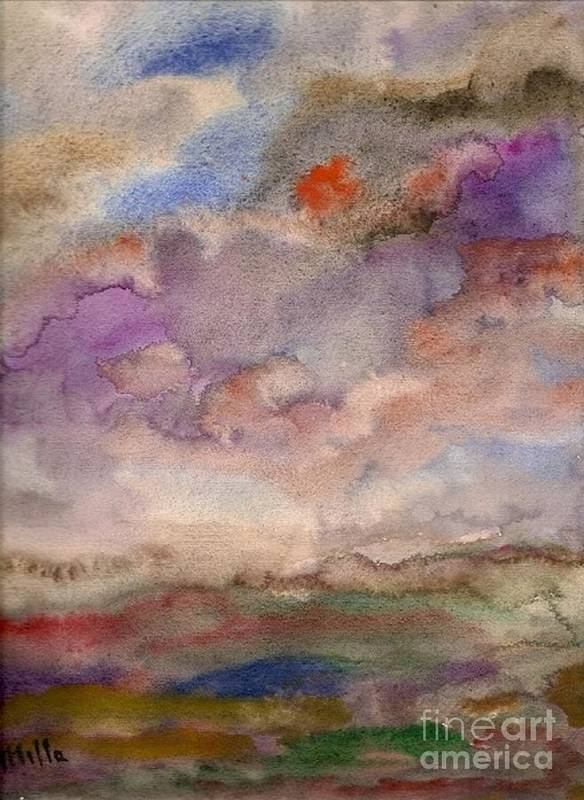 Landscape Poster featuring the painting Feeling by Milla Nuzzoli