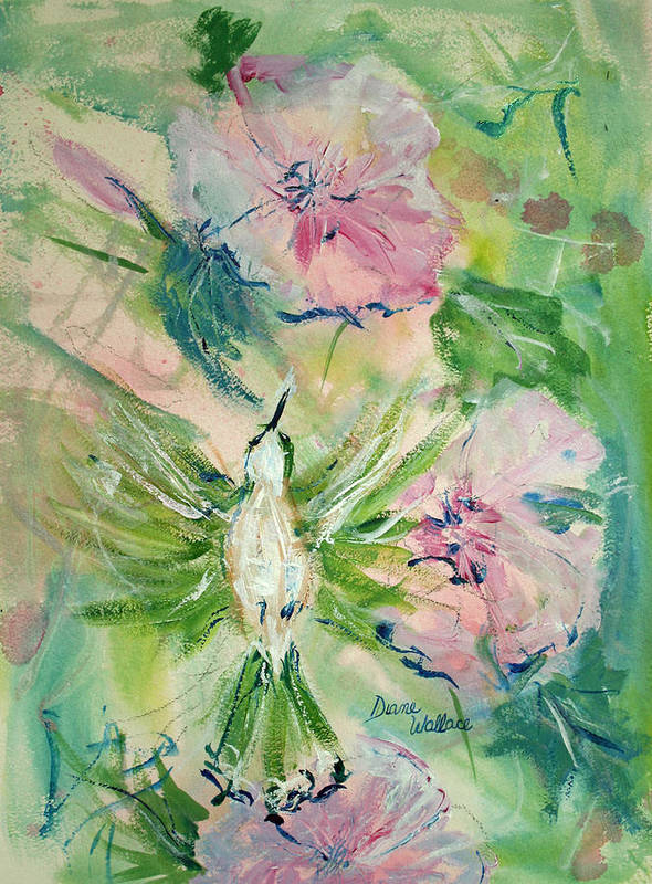 Hummingbird Poster featuring the painting Female Hummingbid by Diane Wallace