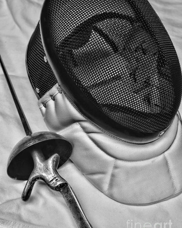 Paul Ward Poster featuring the photograph Fencing - Fencing Mask And Sword by Paul Ward