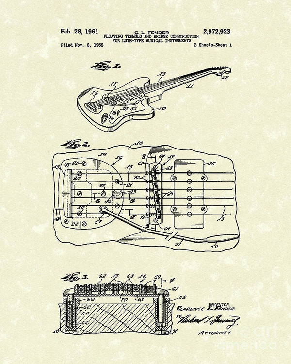 Fender Poster featuring the drawing Fender Floating Tremolo 1961 Patent Art by Prior Art Design