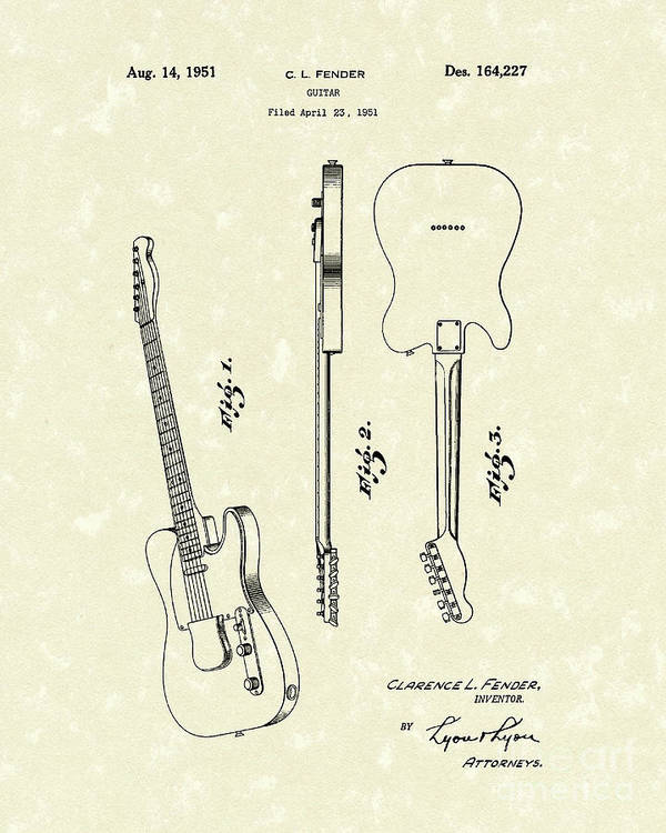 Clarence L. Fender Poster featuring the drawing Fender Guitar 1951 Patent Art by Prior Art Design