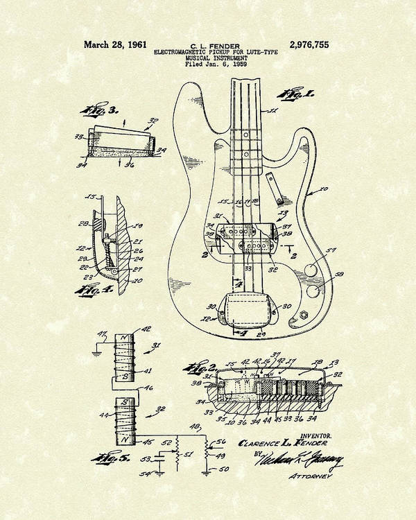 Fender Poster featuring the drawing Fender Guitar 1961 Patent Art by Prior Art Design