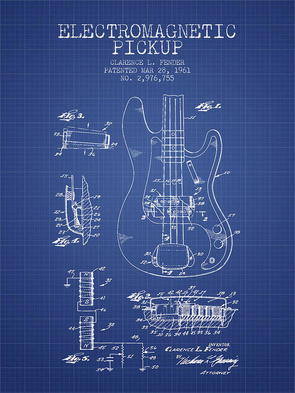 Fender Poster featuring the digital art Fender Guitar Patent From 1961 - Blueprint by Aged Pixel