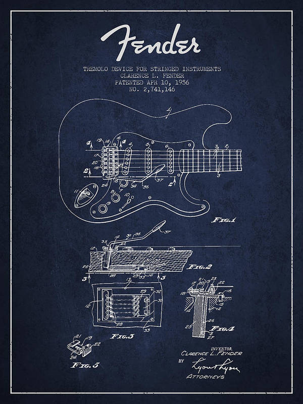 Fender Poster featuring the digital art Fender Tremolo Device Patent Drawing From 1956 by Aged Pixel