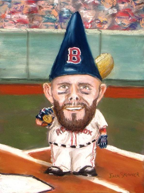 Boston Red Sox Poster featuring the painting Fenway's Garden Gnome by Jack Skinner