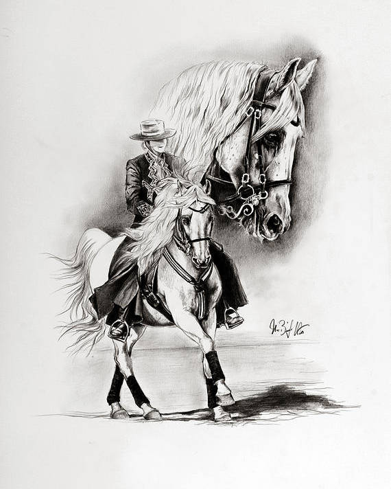 Andalusian Poster featuring the drawing Feria II by Art Imago