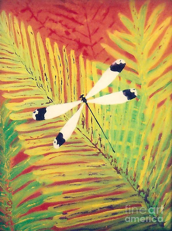 Dragonfly Poster featuring the painting Fern Dragon by Anna Skaradzinska