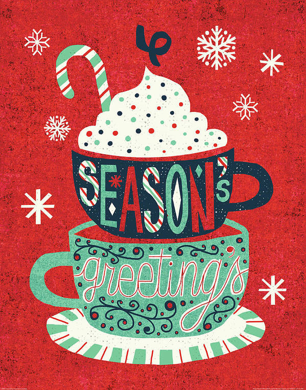 Candy Cane Poster featuring the painting Festive Holiday Cocoa Seasons Greetings by Michael Mullan