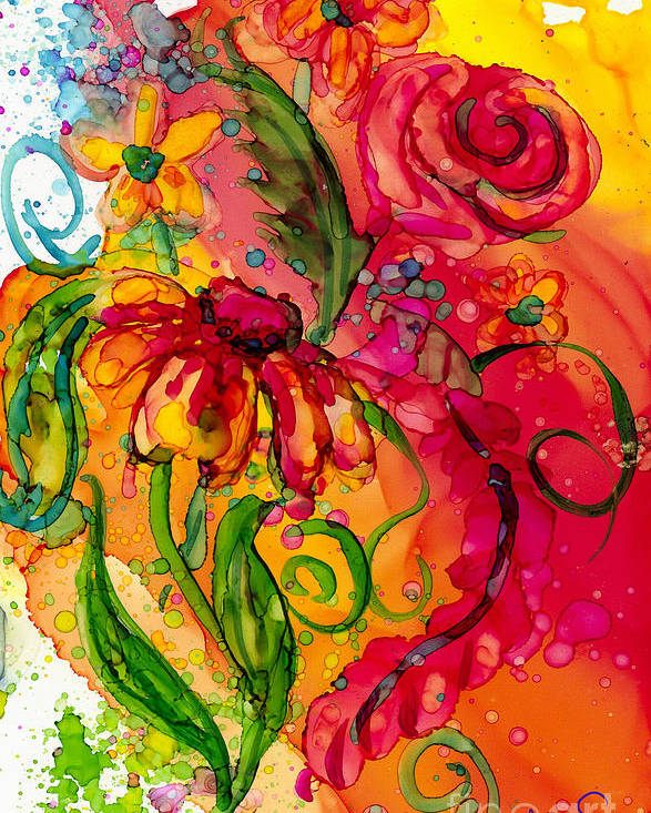 Flowers Poster featuring the painting Fiesta Flowers by Francine Dufour Jones