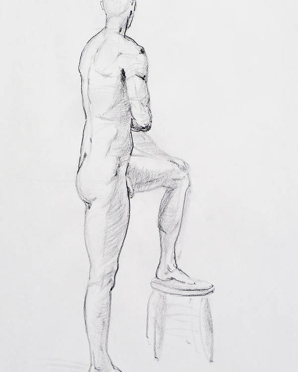 Man Poster featuring the drawing Figure Drawing Study Iv by Irina Sztukowski
