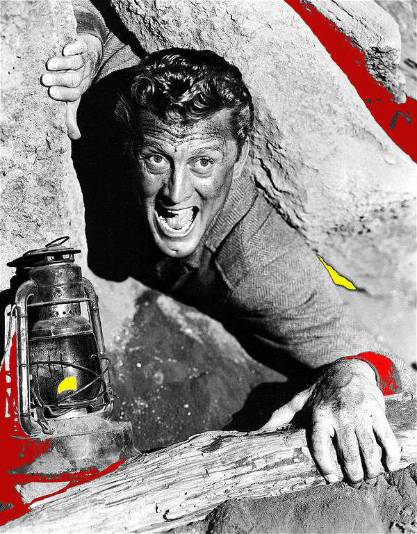 Film Noir Ace In The Hole Kirk Douglas With Lantern 1951 Poster featuring the photograph Film Noir Ace In The Hole Kirk Douglas With Lantern 1951-2014 by David Lee Guss