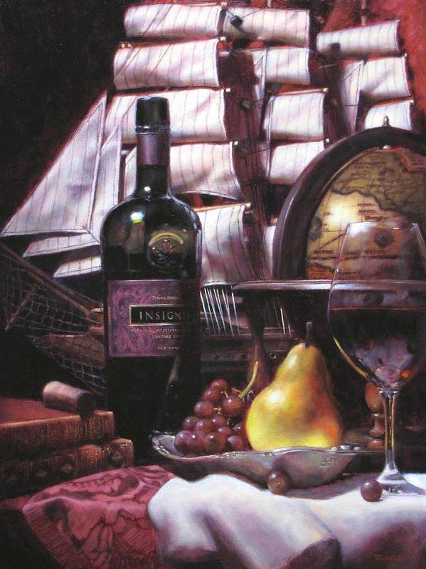 Wine Still Life Poster featuring the painting Fine Wine For New Voyage by Takayuki Harada