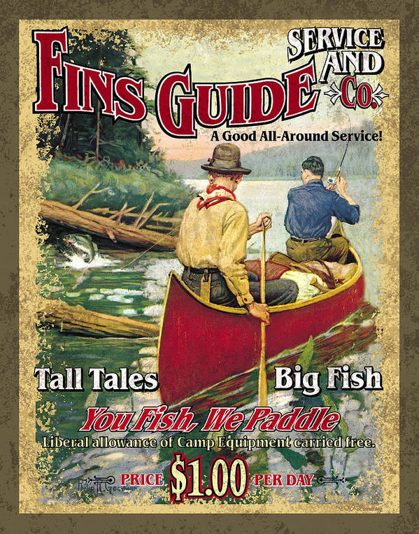 Philip Goodwin Poster featuring the painting Fins Guide Service by JQ Licensing