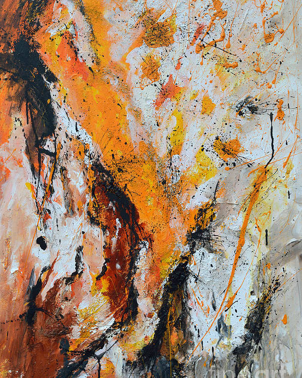 Fire And Passion Poster featuring the painting Fire And Passion - Abstract by Ismeta Gruenwald