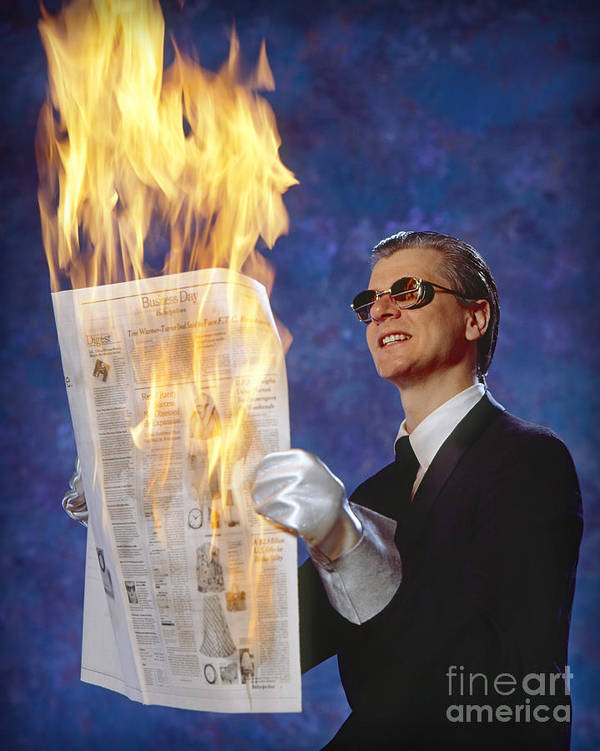 Newspaper Poster featuring the photograph Fire Reader by Martin Konopacki