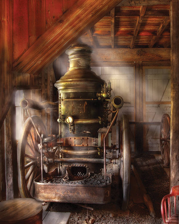 Savad Poster featuring the photograph Fireman - Steam Powered Water Pump by Mike Savad