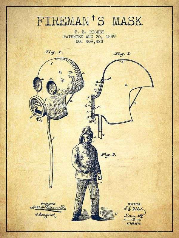 1889 Firefighter Fireman Helmet Chalkboard Patent Poster