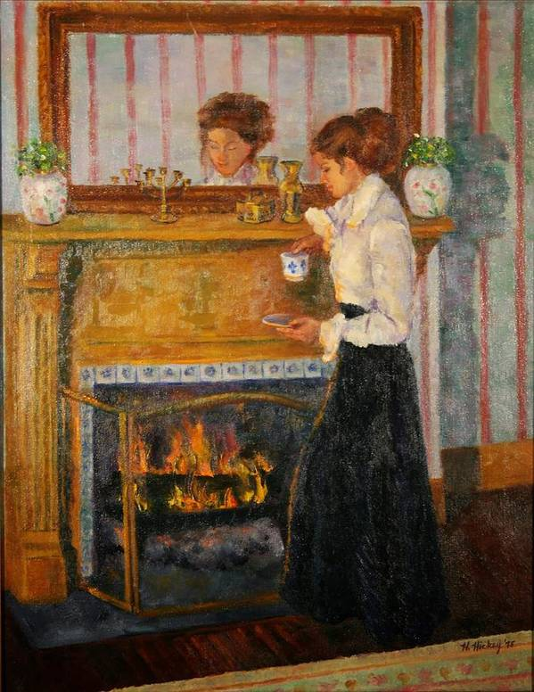 Poster featuring the painting Fireside by Helen Hickey