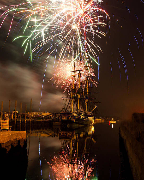 Salem Fireworks Poster featuring the photograph Fireworks Exploding Over Salem's Friendship by Jeff Folger