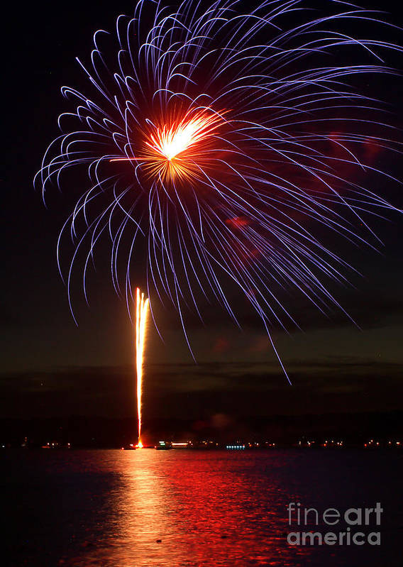July 4th Poster featuring the photograph Fireworks Over Lake by Raymond Earley
