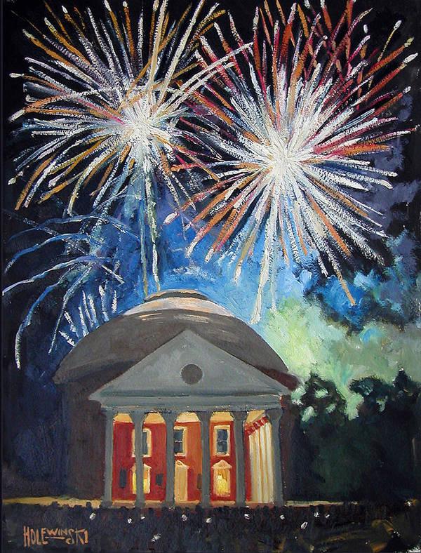 Rotunda. University. Virginia. Charlottesville. Fireworks. Poster featuring the painting Fireworks Over The Rotunda by Robert Holewinski