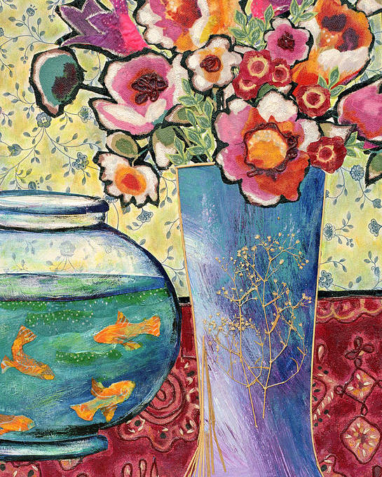 Flowers In A Vase Poster featuring the mixed media Fish Bowl And Posies by Diane Fine