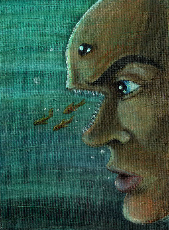 Underwater Poster featuring the painting Fish Mind by John Ashton Golden