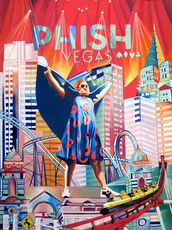 Phish Poster featuring the drawing Fishman In Vegas by Joshua Morton