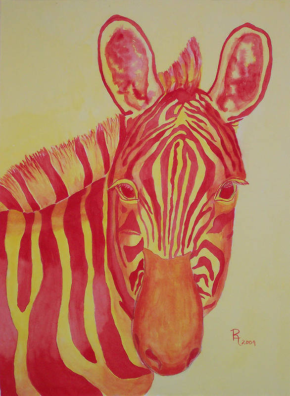Zebra Poster featuring the painting Flame by Rhonda Leonard