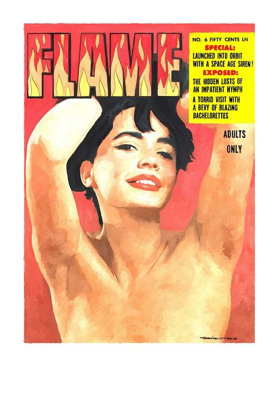 Flame Poster featuring the digital art Flame - Vintage Magazines Covers Series by Gabriel T Toro