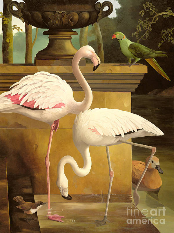 Flamingo; Birds; Parakeet; Duck; Formal Garden; Pool Poster featuring the painting Flamingos by Lizzie Riches