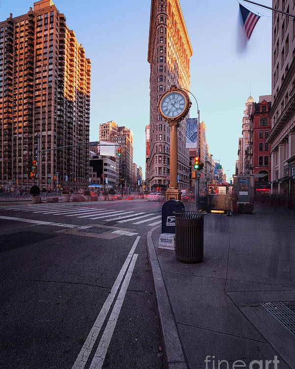 5th Avenue Clock Poster featuring the photograph Flatiron Area In Motion by John Farnan