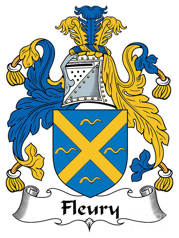 Fleury Poster featuring the digital art Fleury Coat Of Arms Irish by Heraldry