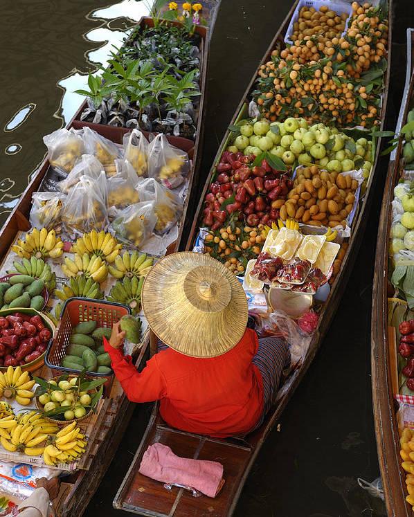 Damnoen Saduak Floating Market Poster featuring the photograph Floating Market by Christian Heeb