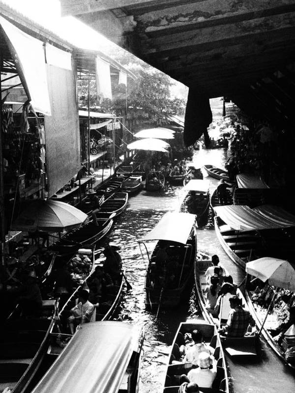 Floating Poster featuring the photograph Floating Markets In Black And White by Kaleidoscopik Photography